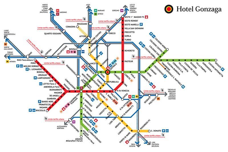 Milano Hotel Gonzaga Metro Map
